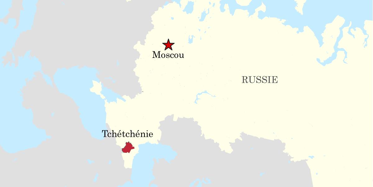 Carte de la Tchétchénie en Russie.
